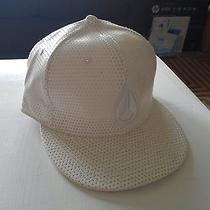 New Unused Men's White Polyester Leather Like Nixon New Era Hat 7-3/8 Photo