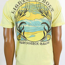 New Urban Outfitters Men Chaser Yellow Lightning Bolt Hawaii Tee Shirt Small Photo