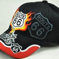 New Us Route 66 the Mother Road Harley Motorcycle Bike Cap Hat Flame Black Photo