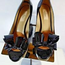 New Valentino Couture Bow Black  Patent Leather Peep Toe Pump - 38 1/2 /  8 1/2 Photo