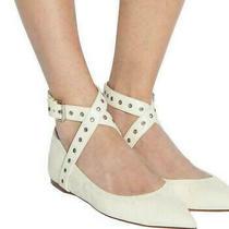 New Valentino Garavani Love Latch Leather Ankle Strap flats.size 37.5m. Ivory. Photo