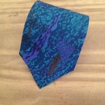 New Valentino Pietre Aqua Purple & Brown Designer Silk Tie Photo