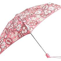 New Vera Bradley Compact Automatic Mini Umbrella  Blush Pink Rain or Sun  Photo