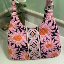 New Vera Bradley Large Hobo Loves Me Pink Daisy Purse Shoulder Bag Orange Navy Photo