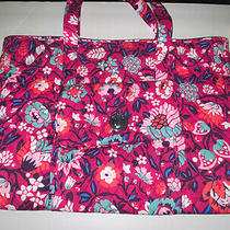 New Vera Bradley Large Turnlock Tote Bag Bloom Berry Photo