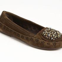 New Vera Wang Footwear Indigo Ballet Flat Shoes Us 6/eu 36 Olive Suede/crystals Photo