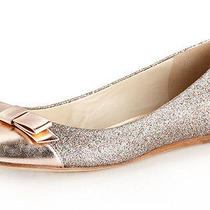 New Vera Wang Lavender Louisa Quartz/rose Gold Bow Glitter Ballet Flat Us 9 Shoe Photo
