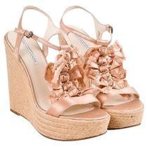 New Vera Wang  Lavender Wedge Silk Heel Shoe Light Satin Pink Size 10 Photo
