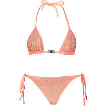 New Versace Collection Coral (Or Orange) Studded/shimmer Bikini Uk6 It38 Xxs Photo