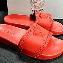 New Versace Sandals Slides Medusa Palazzo Red Size 11 Flip Flops Shoes Photo