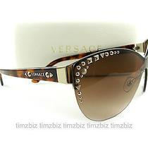 New Versace Sunglasses Ve2152 Havana Gold 1252/13 Authentic Photo