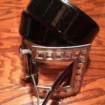 New via Spiga Black Glossy Patent Leather Women's Fashion Belt Size L Photo