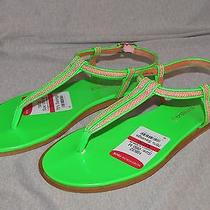 New via Spiga 'Cynna' Thong T-Strap Sandal Size 6 Neon Green & Pink Msrp 150 Photo