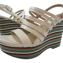 New via Spiga Esther Ivory Sandal With Multicolored Platform Wedge  7.5 M Photo