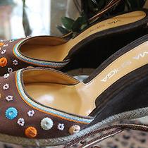 New via Spiga Grace Brown Canvas Womens Designer Wrap Up Shoes Wedges Size 7.5 Photo