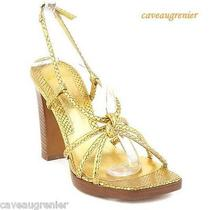 New via Spiga Metallic Gold Slingback Snake Skin Shoes Sandals Womens Size 7 M Photo