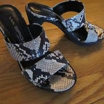 New via Spiga Open Toe Real Water Snake Skin Sandal Heel Pump Sz 5 1/2-  6 Photo