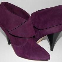 New via Spiga Sz 6 Suri Kid Suede Plum Purple Cuff Ankle Bootie Boots Heels Photo