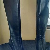 New via Spiga Womens Bethany Black Tall Leather Knee High Riding Boots Size 4.5m Photo