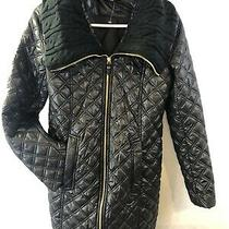 New via Spiga Womens Quilted Puffer Coat Long Jacket Black Size Xs Photo