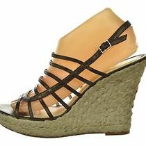 New via Spiga Womens Shoes 8.5 M Brown Espadrille Wedges Leather Open Toe Heels Photo