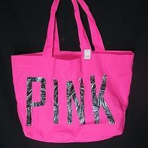 New Victorias Secret Cute Pink Palms Leaf Canvas Tote/beach Bag Nwt 2014 Photo