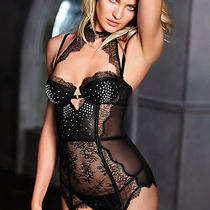 New Victoria's Secret Merry Widow Corset Bustier Rhinestone Chantilly Lace 34b Photo