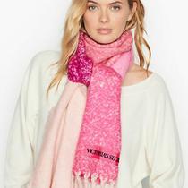 New Victoria's Secret Pink Blush Colorblock Plush Plaid Scarf Photo
