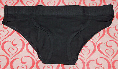 NEW Victoria's Secret Pink Logo Bikini Panty Solid Black Cotton Mesh Large L VS Photo