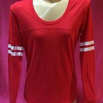 New Victoria's Secret Pink Varsity Red Long Sleeve Tee Shirt Small V27 Photo