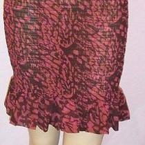 New Victoria's Secret Semi-Sheer Printed Gauze Ruffled Smocked Mini Skirt 10 Photo
