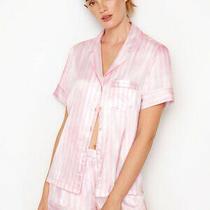 New Victoria's Secret Size Large the Satin Boxer Pajamas Pink & White Stripe Photo