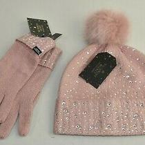 New Victoria Secret 2 Pc Set Holiday Rhinestone Gloves  Pom Pom Hat Blush Pink Photo