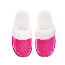 New Victorias Secret Medium m(7-8) Cable Knit Haute Pink Cozy Slipper Faux Fur Photo