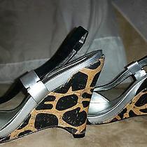 New Viga Spiga 4' Wedge Heel Leopard Pattern Black Slip on Sz10m Rt195  Photo
