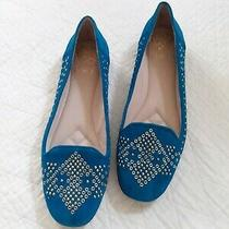New Vince Camuto Blue Leather Beaded Lonovan Flats Size 8 Photo