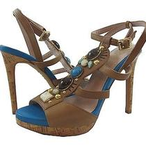 New Vince Camuto Chandon Tan and Blue Strappy Sandal With Colored Stones - 6.5 Photo