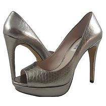 New Vince Camuto Janeese Silver Metallic Snake Embossed Platform Peep-Toe Pump-8 Photo