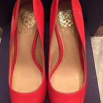New Vince Camuto Leather Peep-Toe Pumps Heels Shoes Patent Pink Size 6.5 Photo