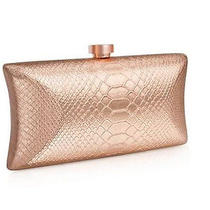 New Vince Camuto Metallic Rose Gold Evening Clutch Snake Skin Pattern  Gwp Photo