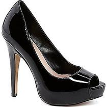 New Vince Camuto Milesy 2 Peep-Toe Platform Pumps Black Patent Leather Sz 8.5 Photo
