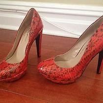 New Vince Camuto Signature Classic Pumps Shoes Snake Print Red Leather Sz 7 Photo