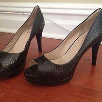 New Vince Camuto Signature Peep-Toe Pumps Shoes Snake Print Black Leather Sz 7 Photo