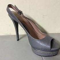 New Vince Camuto Silver/gray Snakeskin-Like Leather Platform Pumps Size 8.5 Photo