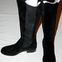 New Vince Camuto Womens Black Suede Leather Boot Size 7.5 Elastic Kentima 37 1/2 Photo