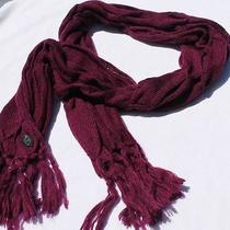 New Vince Camuto Womens Knit Cable Knit Fringe Scarf Grape Photo