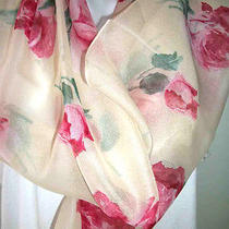New   Vintage Avon Chiffon   Rose Oblong Scarf  Easter Mothers Gift Photo