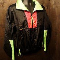 New Vintage Columbia Mens M Black & Neon Radial Sleeve Windbreaker Jacket   O26 Photo