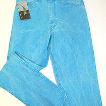 New Vintage Levi's Two Horse Aqua Blue Acid Rinse Denim Jeans 32x34 Tag 33x34 Photo
