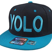 New Vintage Snapback Cap Yolo  You Only Live Once Hat Black/aqua Photo